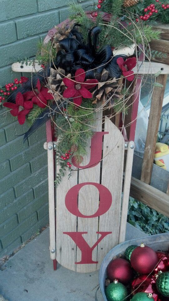 25 best ideas about christmas sled on pinterest sled for Antique sled christmas decoration