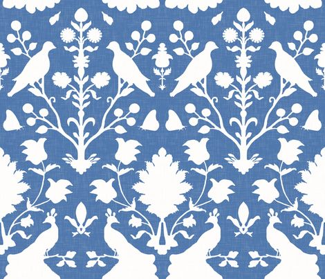 Oiseaux in Blue fabric by sparrowsong on Spoonflower - custom fabric