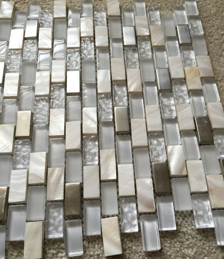mother of pearl mosaic tiles frosted crystal glass tile backsplash cheap US129 stainless steel kitchen back splash wall tiles