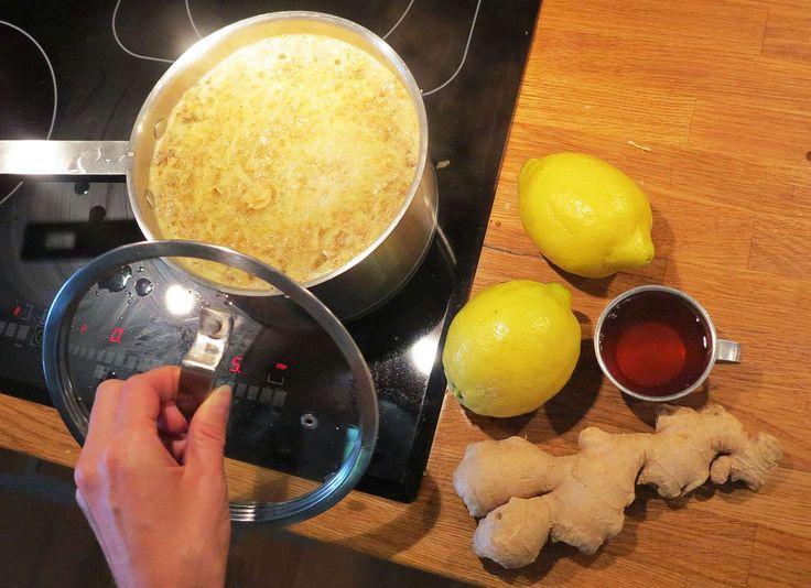 Recept på uppiggande och fräsch shot med ingefära, honung och citron. En riktig kick för immunförsvaret och smaklökarna.