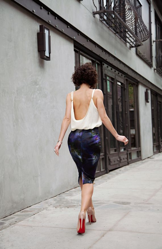 Pencil skirt,  paired it with a low back cami by Adriano Goldschmied