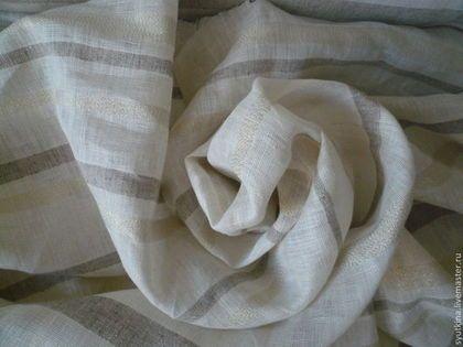 Лен с золотой полоской Rayon d'or - лен 100%,льняная ткань,ткань для штор