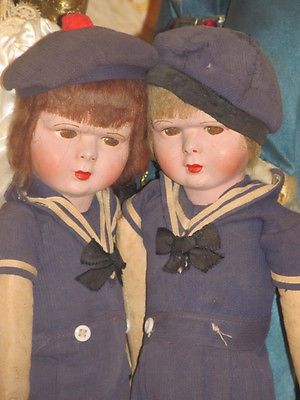 """Matched Pair Vintage 13"""" Twin Dolls in Sailor Costume, French Venus or Clelia"""