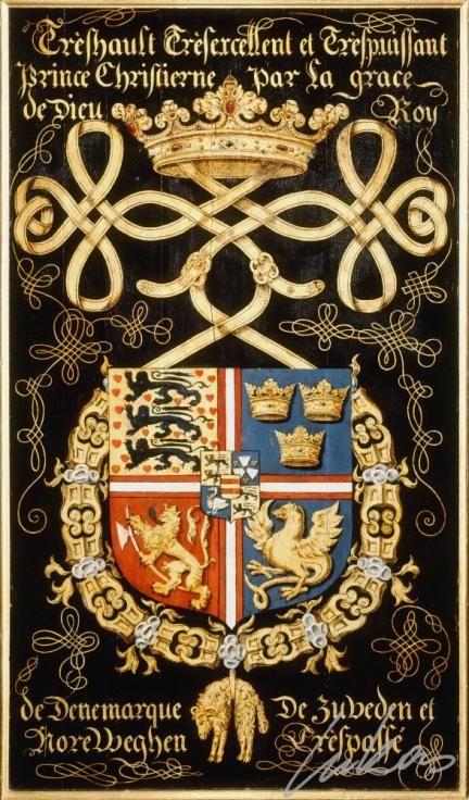 """(164) Christian II, roi de DANEMARK (1481-1559) -- """"Trèshault trèsexcellent et trèspuissant prince Christierne, par la grace de Dieu roy de Denemarque, de Zuveden et Noreweghen. Tréspassé"""" -- Armorial plate from the Order of the Golden Fleece, 1559, Saint Bavo Cathedral, Gent -- Panneau de trépassé."""