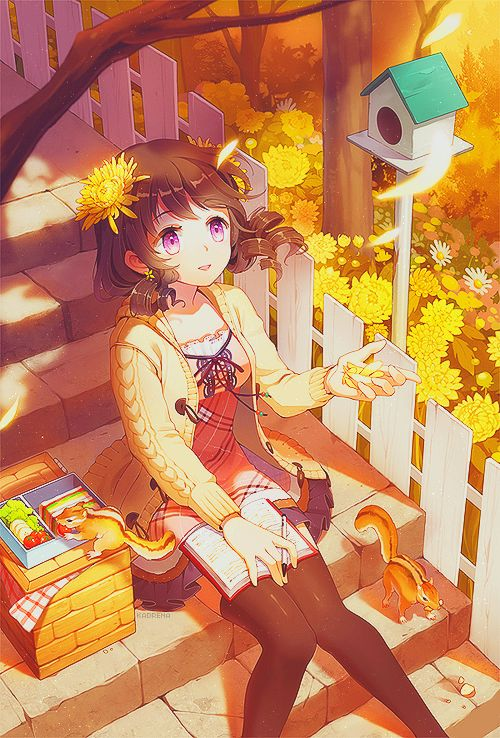 ✮ ANIME ART ✮ animals. . .chipmunks. . .anime girl with animals. . .garden. . .flowers. . .flower petals. . .picnic basket. . .food. . .book. . .nature. . .cute. . .kawaii