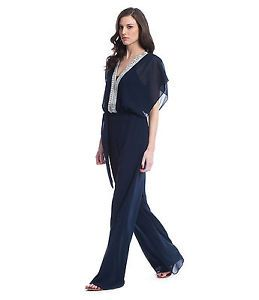 Belle Badgley Mischka Navy Blue Silver Beaded Formal Jumpsuit Dress 6 New