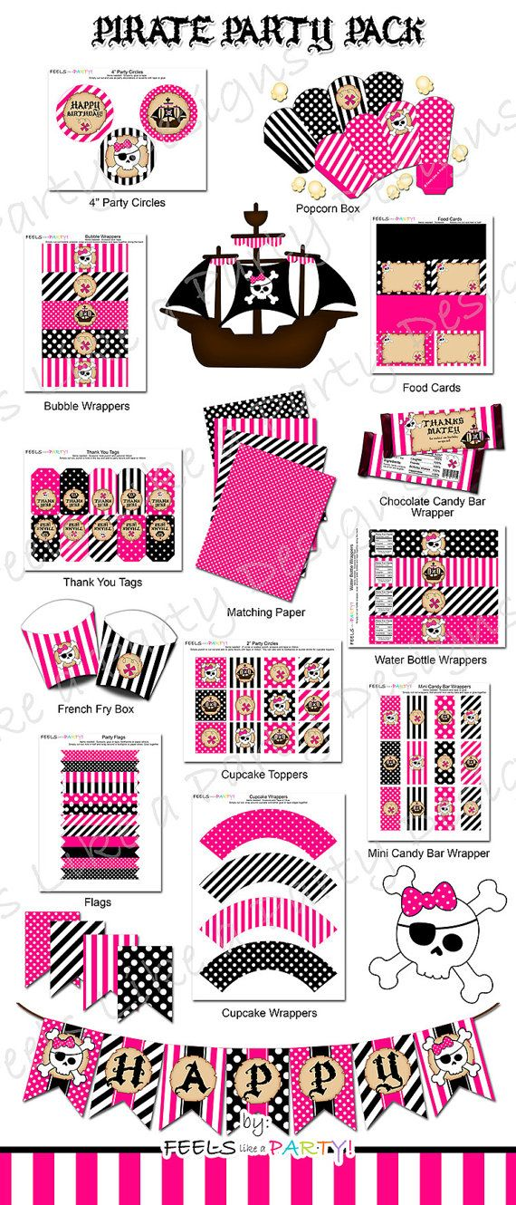 Pink Pirate Party Pack - This super fun pink pirate party listing includes a DIY printable party kit that is available as an instant download! This listing is for DIGITAL