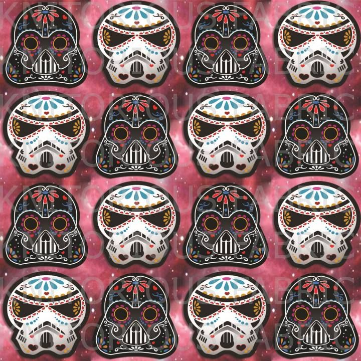 Star wars sugar skulls pink galaxy colourway by for Star wars fabric