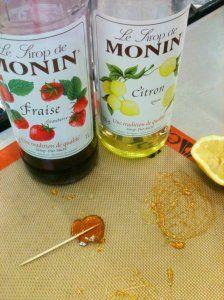 """Sucettes à base de sirop Monin """"Blog La Cuisine Expliquée"""""""