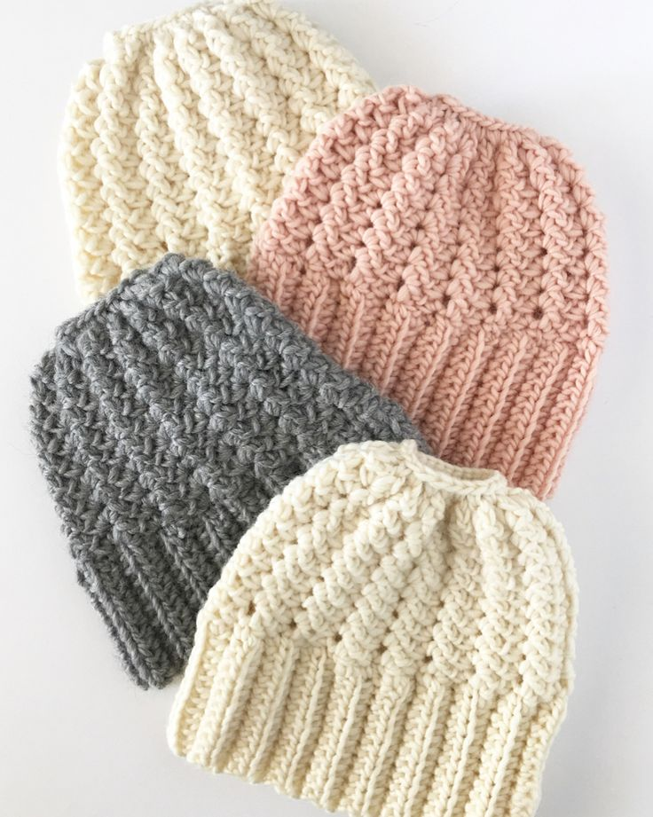 Crochet Bun Beanie Hats - Daisy Farm Crafts