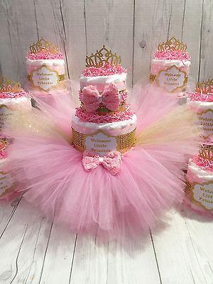 Pink U0026 Gold Princess Tutu Diaper Cake Centerpiece Set