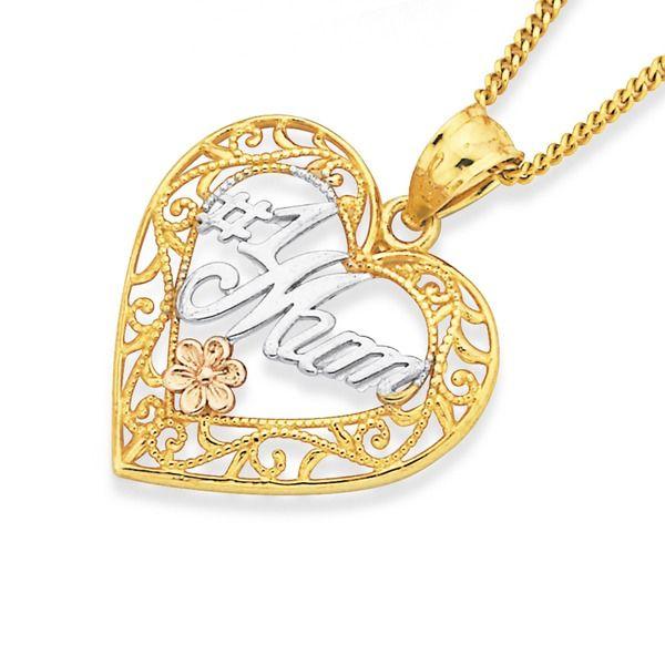 9ct Gold Tri Tone '#1 Mum' Filigree Heart Pendant