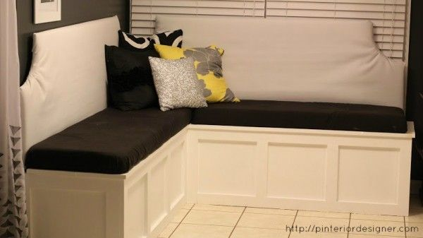 How to Build a Custom Corner Banquette Bench | Pinterior Designer featured on Remodelaholic.com #banquette #diy #dining
