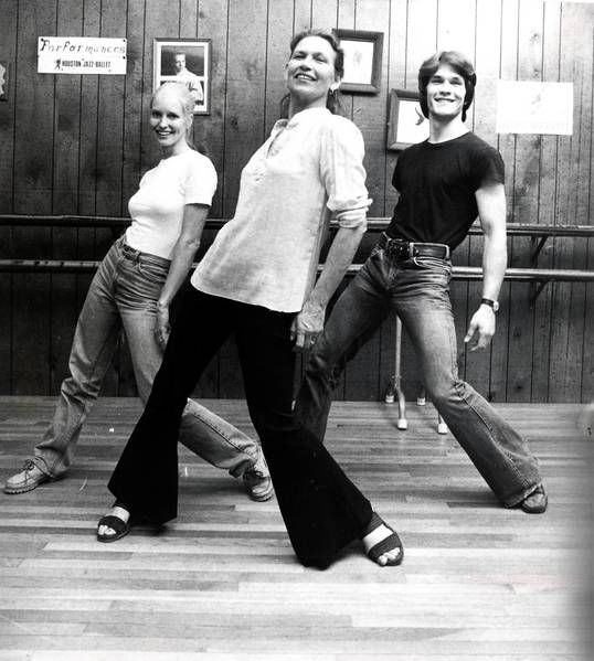 In this June 1978 photo, Patsy Swayze, center, dances with her son Patrick Swayze, right, and his wife, Lisa Niemi, at Patsy Swayze's dance studio in Houston.