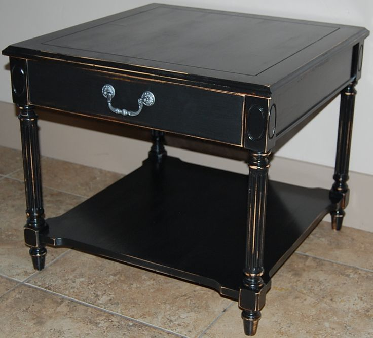 Refinished End Table, Black Distressed With Updated Hammered Silver  Hardware.