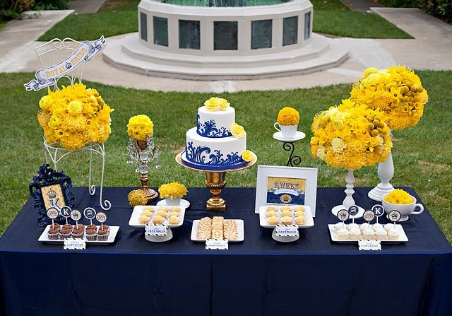 LRuff wedding - blue and yellow dessert table - white accents