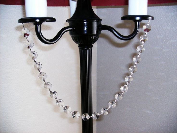 3 Strands 12 Lead Crystal Bead Chandelier Chain Garland Clear Swag W Magnet