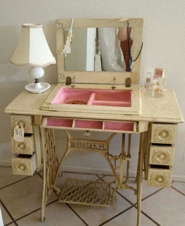 Dressing table vanity from repurposed sewing machine cabinet; Upcycle, Recycle, Salvage, diy, thrift, flea, repurpose, refashion! For vintage ideas and goods shop at Estate ReSale & ReDesign, Bonita Springs, FL by daniela.pic