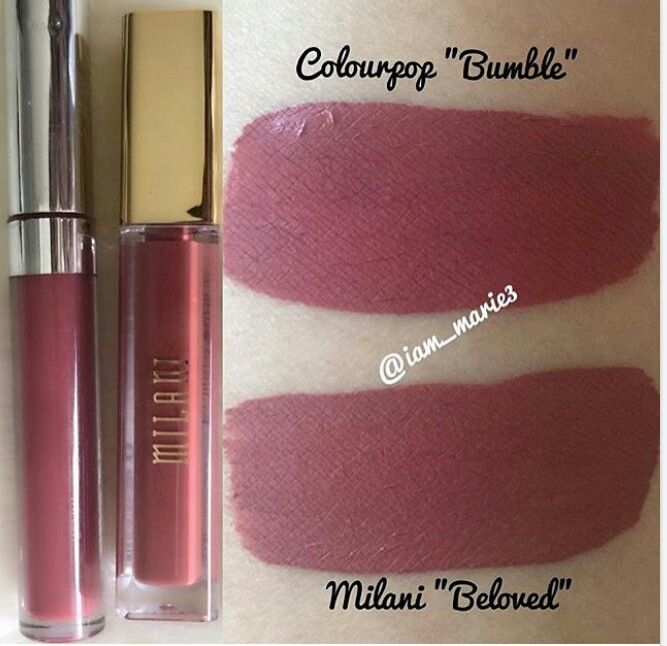 Dupe! Milani matte lip cream 03 Beloved & ColourPop Ultra Matte Lipstick Bumble. Beloved is a touch darker but once applied i don't think you can tell.