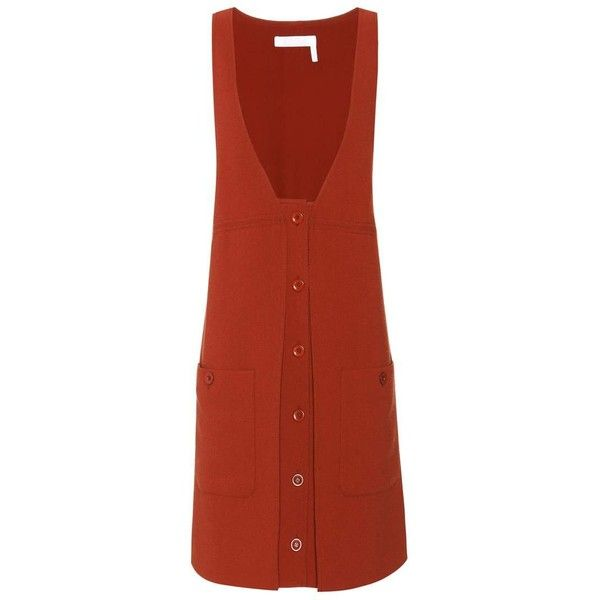 Chloé Wool-Crêpe Pinafore Dress (19 620 ZAR) ❤ liked on Polyvore featuring dresses, red, wool crepe dress, crepe fabric dress, red wool dress, pinny dress and pinafore dress