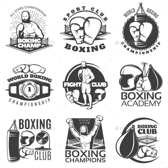 Boxing Black White Emblems by VectorPot Boxing black white emblems of clubs and championships with fighter sports equipment award isolated vector illustration. Editable E