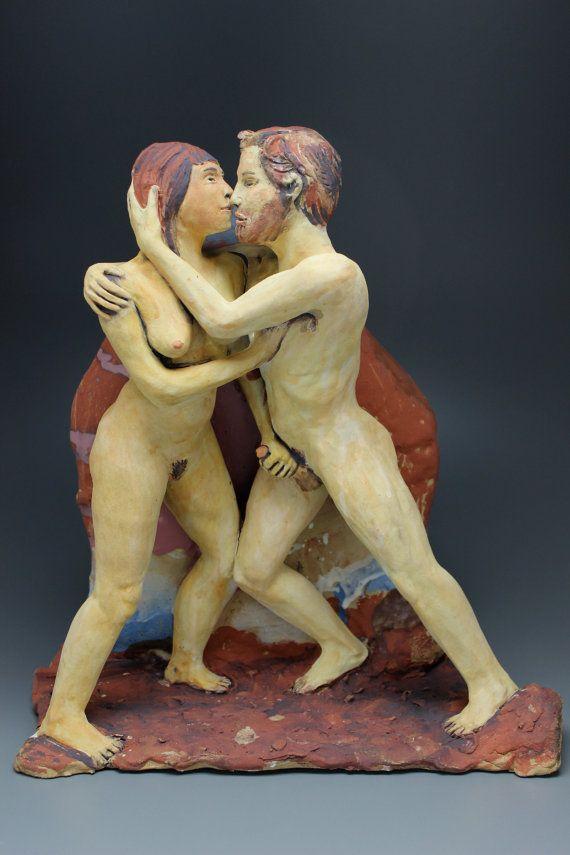Erotic Art Sculpture Lovers, Ceramic Figures Embrace, Freestanding or Wall Hanging, Hand Job, Mature NSFW