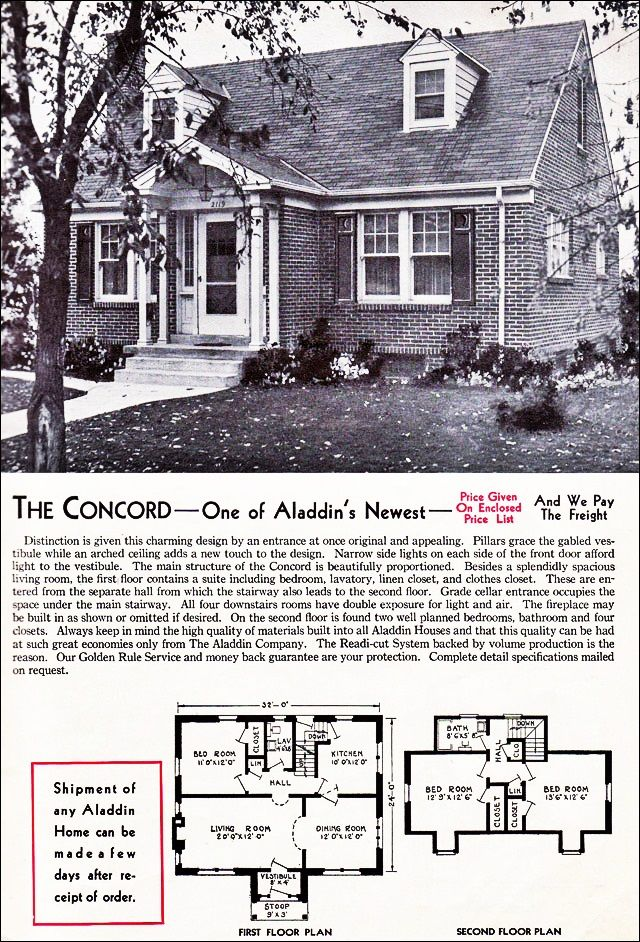 The concord kit house floor plan made by the aladdin for House plans michigan