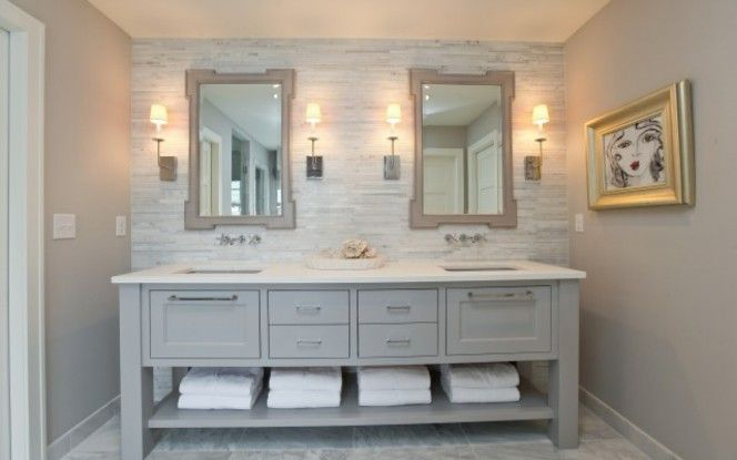 Master bath inspiration light gray vanity with white for Bathroom ideas grey vanity