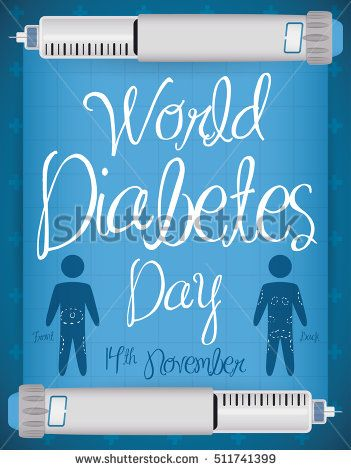 Two insulin injections holding a squared paper with indications for injections site, promoting care of this disease in World Diabetes Day.