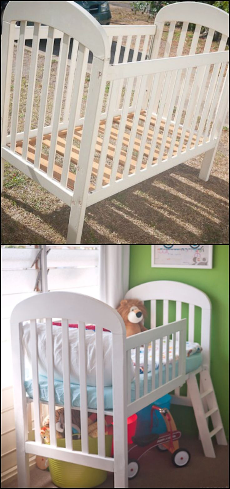Turn crib into toddler loft bed   best For new place images on Pinterest  Festival trolley For