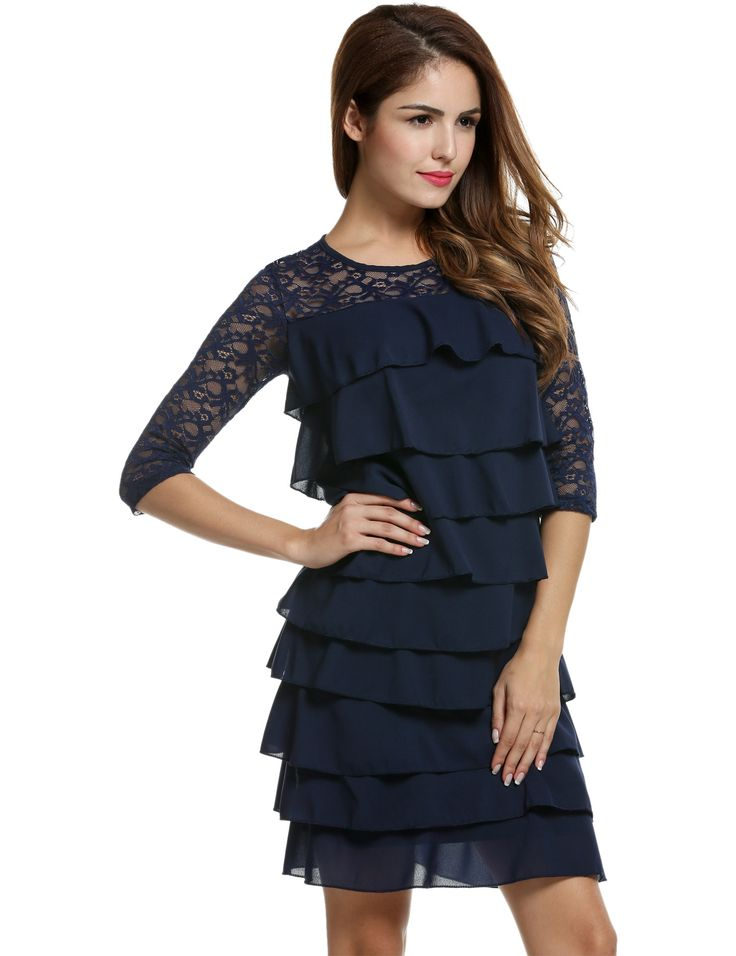 Black Women Lace Medium Sleeve Bodycon Cocktail Party Multi Tiered Going Out Dresses