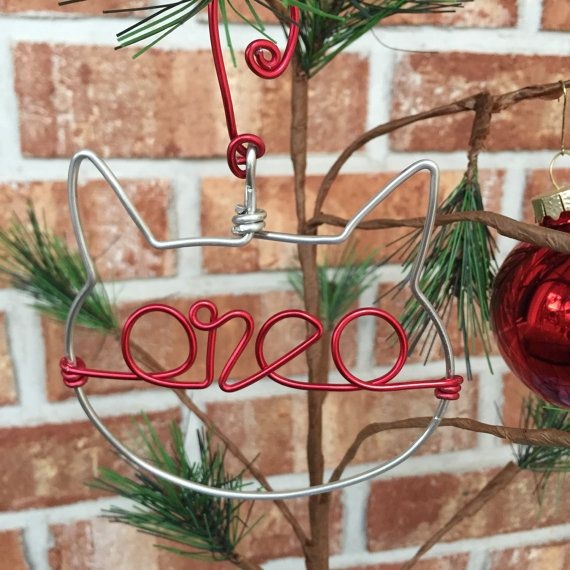 Wire Pet Ornament with Name, Dog or Cat Gift