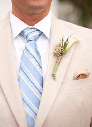 Light blue tie and white boutonniere // photo by http://www.stephanieasmith.com, via http://theeverylastdetail.com/beach-chic-light-blue-peach-wedding/