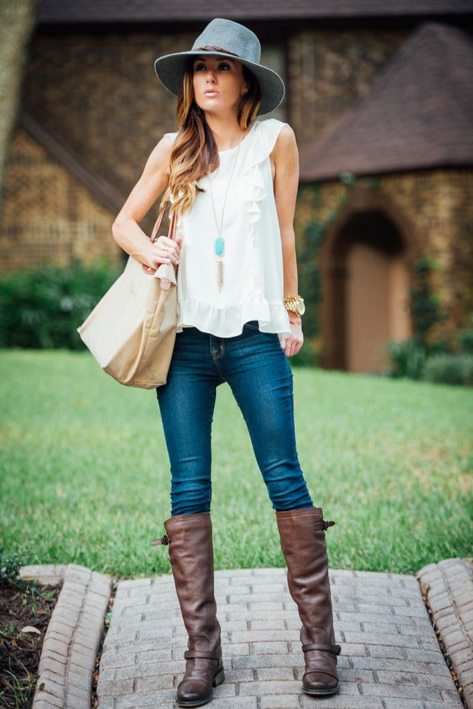 White ruffle top, jeans, riding boots and hat - Sequins and Things