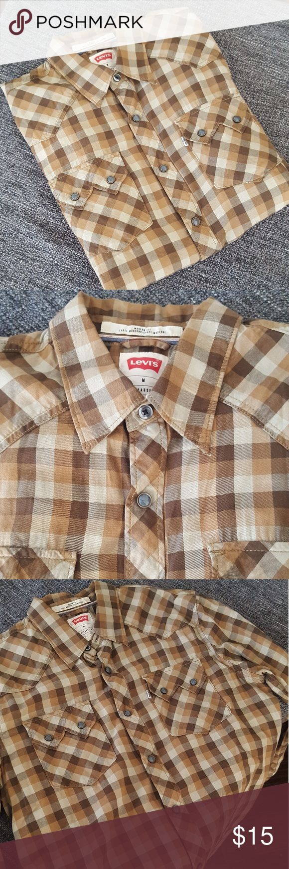 Men's Levis Brown Plaid Western This long sleeve western has snapbuttons and double breasted batwing pockets. Levi's Shirts Casual Button Down Shirts