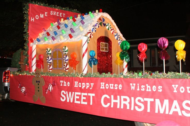 Christmas parade float ideas - gingerbread house and lollipops