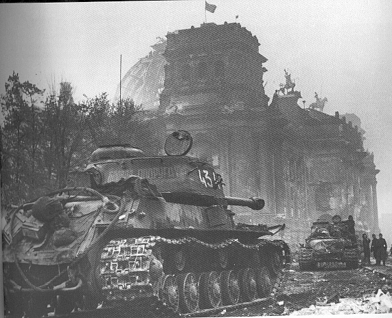 Battle of Berlin, 1945. Russian IS-2 tanks near the Reichstag after the battle.