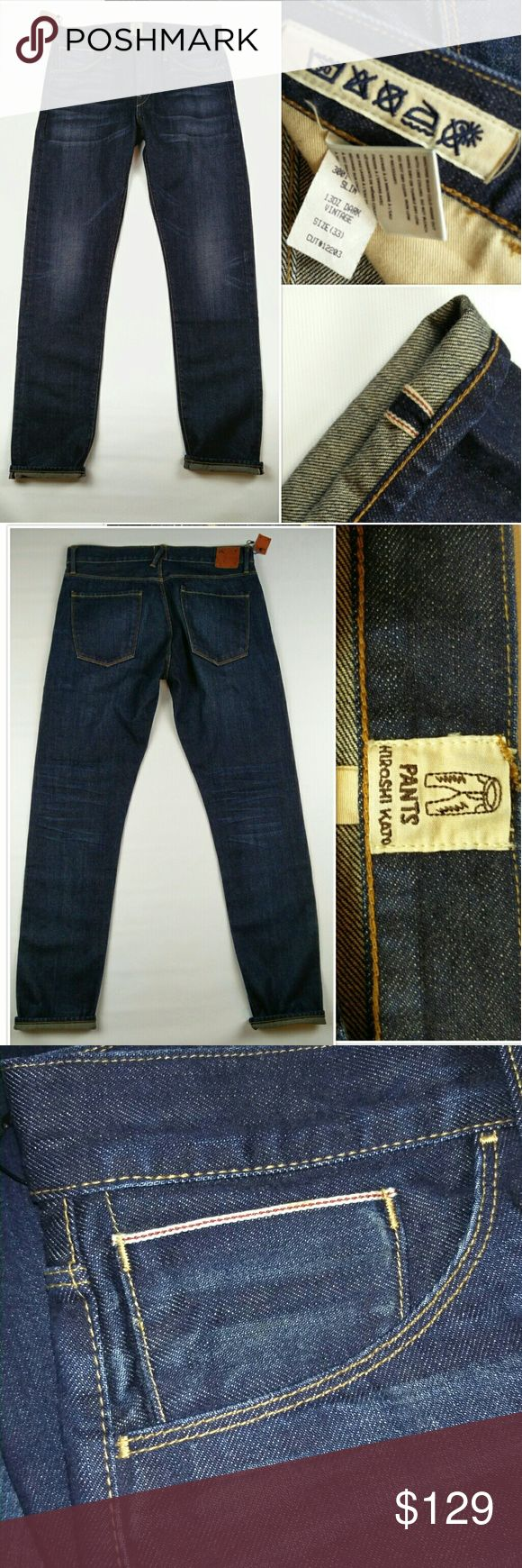 "Hiroshi Kato Japan Selvage Slim Tapered Jeans 30 NWT Hiroshi Kato Men?s Japan Selvage Slim Tapered Jeans Indigo Vintage USA 30  INSEAM 34"" RISE 9.5"" LEG OPENING 7"" Waist 16"" Hips 20"" PETS AND SMOKE FREE HOUSE  WILL SHIP WITHIN 24 HOURS FROM CLEARED PAYMENT HIROSHI KATO Jeans Slim"