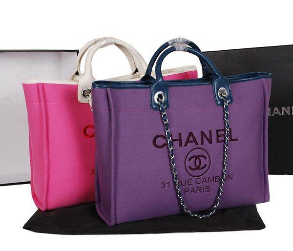 Chanel Medium Canvas Tote Ping Bag A2042 Rose Purple