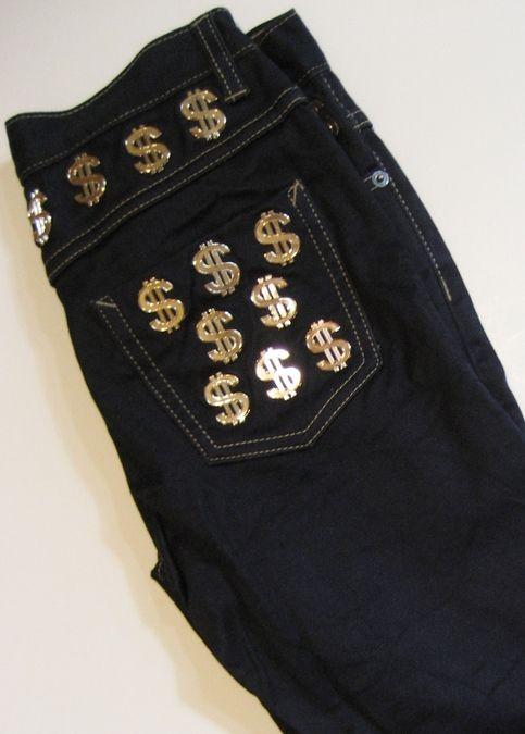JOYRICH denims w/ embellished with big shiny dollar signs $$$