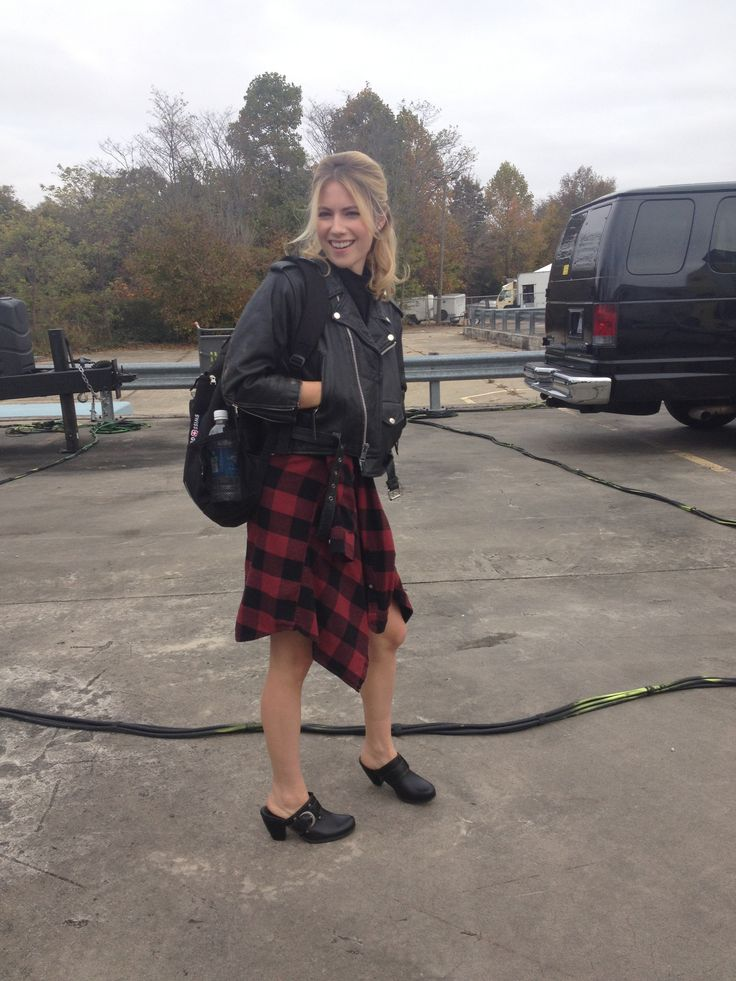 Becca and her true loves: moto jacket + clogs