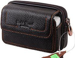 Cheap Men Genuine Leather Cell Phone Case Cover Belt Pouch Purse Fanny Pack…