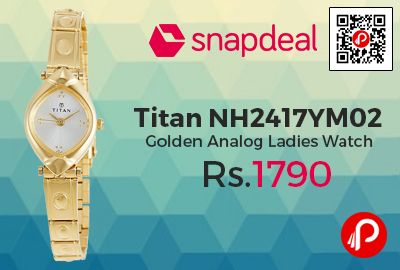 Snapdeal is offering 10% off on Titan NH2417YM02 Golden Analog Ladies Watch at Rs.1790 Only. 2 Years Manufacturer Warranty, 2 Layer Greblon Coating. Pfoa Free Nonstick Coating.  http://www.paisebachaoindia.com/titan-nh2417ym02-golden-analog-ladies-watch-at-rs-1790-only-snapdeal/