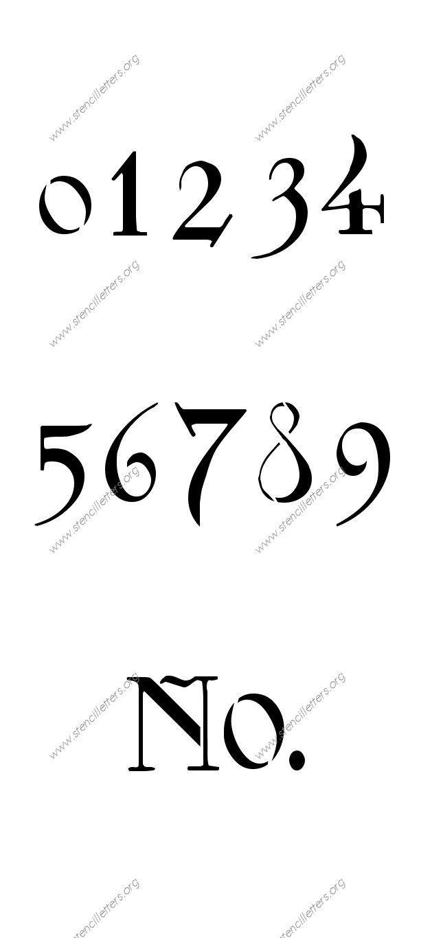 Fantasy Art Nouveau Number Stencil