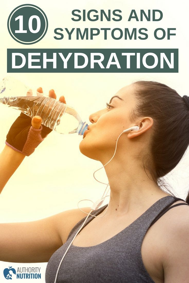 Dehydration is a serious condition that can have terrible health consequences. This article discusses 10 common signs and symptoms of dehydration:https://authoritynutrition.com/dehydration-signs-symptoms/