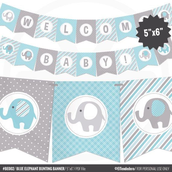 Blue Elephant Baby Shower Banner  Boy Baby Banner  Blue and