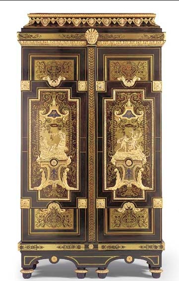 LOUIS XIV ORMOLU-MOUNTED EBONY, CUT-BRASS, TORTOISESHELL, BLUE-STAINED HORN AND PEWTER MARQUETRY ARMOIRE 'DE L'HISTOIRE D'APOLLON  http://www.christies.com/LotFinder/lot_details.aspx?intObjectID=4166043=