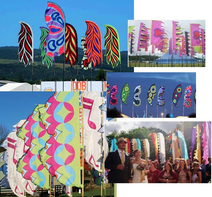 Colourful flag designs for festival tents (so you can find it in the middle of the night/next morning;-)!) or for weddings