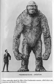 Concept art for King Kong vs Prometheus - A concept for a film pitting Kong against a creation of Dr Frankenstein! - This project eventually fed into King Kong vs Godzilla, Frankenstein vs Baragon, and War of the Gargantuas