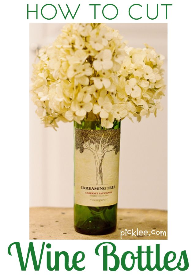 175 best fun tutorials images on pinterest bricolage for How to make flower vases out of wine bottles